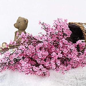 Silk Flower Arrangements ZQALOVE Cherry Blossoms Artificial Flowers Baby's Breath Gypsophila Fake Flowers DIY Wedding Decoration Home Bouquet Faux Flowers Branch,Color:Orange (Color : Pink)