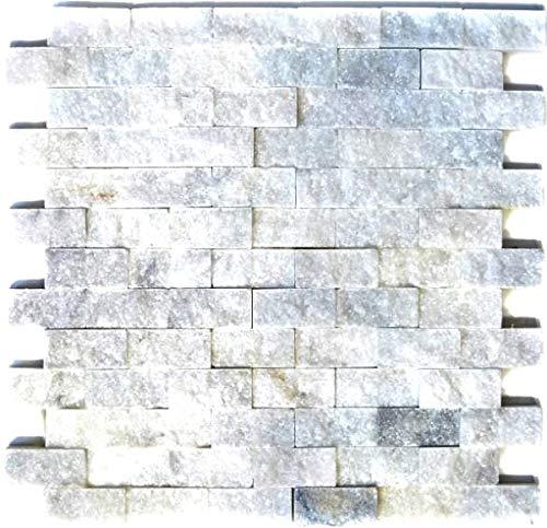 Mosaico de baldosas de mármol blanco piedra natural Brick Splitface Ibiza Sugar Marble 3D MOS45-0204
