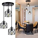 Depuley - Plafón colgante de metal negro, lámpara de comedor de hierro forjado, altura de cable ajustable, 3 bombillas E27 no incluidas, ideal para restaurante, salón, dormitorio y escalera