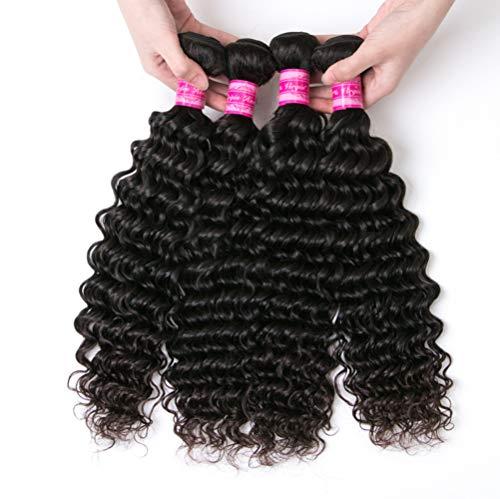 AJIAFA Femme Rideau de Cheveux Bouclée Tissage Bresilien en lot Tissage Bresilien Curly Cheveux Brésiliens Tissage Cheveux Humains,Black,14inches