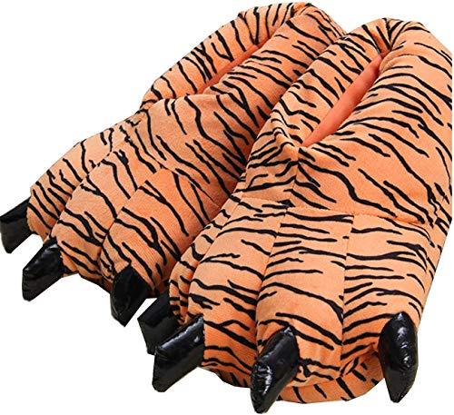 unlockgift Unisex Soft Plüsch Haus Hausschuhe Tier Kostüm Pfote Claw Schuhe,Tiger,40/45 EU