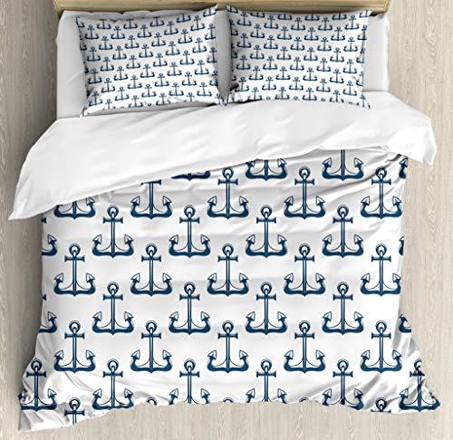 Lunarable Nautical Duvet Cover Set, Dark Colored Vintage Marine Theme Ship Anchor Heraldic Sea Element Pattern, Decorative 3 Piece Bedding Set with 2 Pillow Shams, Queen Size, Blue White