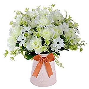 Homsunny Artificial Flowers in Vase, Fake Gardenia Flowers with Ceramics Vase, Silk Flower Arrangements for Homes Offices Dinning Roon Table Kitchen Desktop Decorate (White)