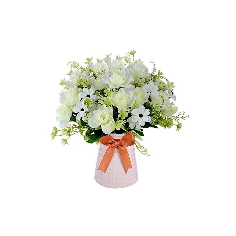 silk flower arrangements homsunny artificial flowers in vase, fake gardenia flowers with ceramics vase, silk flower arrangements for homes officesdinning roon table kitchen desktop decorate (white)