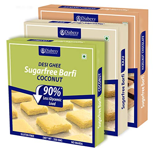 diabexy Desi Ghee Sugar Free Barfi Combo (Coconut, Kaju & Chocolate Hazelnut ) 200 gm Each (Pack of 3)