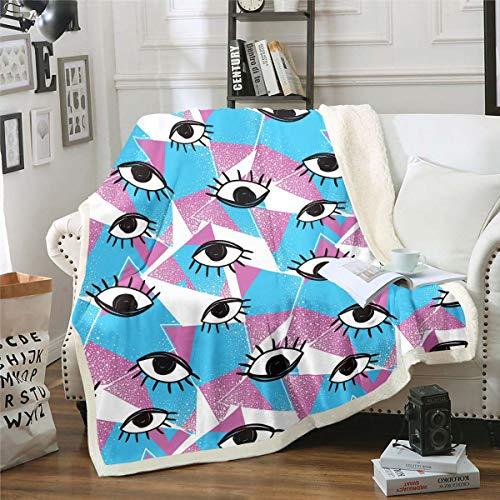 Manta de forro polar con diseño de ojos para niñas, para niños, niñas, sombra de ojos, diseño moderno, manta de felpa, manta geométrica para sofá cama, 126 x 152 cm