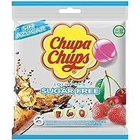 Chupa Chups Sin Azúcar, Caramelo con Palo de Sabores Variados - Bolsa de 6 unidades de 11 gr/ud