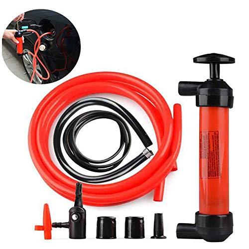 TERMALY Tragbare Manuelle Ölpumpe Siphonrohr Autoschlauch Kraftstoff Gasabsauger Transfer Sauger Aufblasbares Pumpenwerkzeug,Red