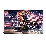 aixingwuzi Dinastía Trump bandera tren Donald Trump Banderas apoyo para President 2020 Banner - Todos a bordo del tren Trump 90 x 150 cm con dos ojales de latón (Multi-1)