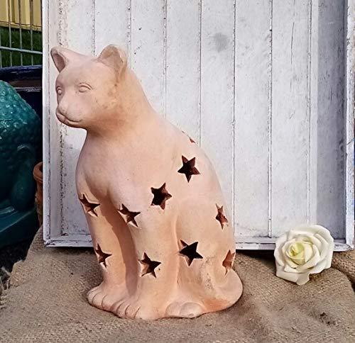 Katze 30 cm aus Terracotta Terrakotta Deko Garten Tier Figur mit Stern - Dekor Weihnachten