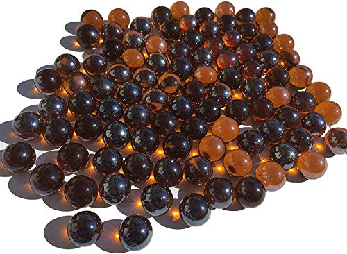 CRYSTAL KING Braune Glasmurmeln Glaskugeln 16mm Durchmesser 500gr Dekokugeln durchsichtig braune klare Murmel Dekoration Dekoglaskugel braun Glaskügelchent