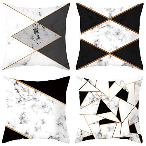 Aeici Set 4 Federe Cuscino Fodere per Cuscini Divano, Fodere Cuscino da Divano 40x40cm Federe per Cuscini Divano Triangolo Quadrato in Marmo Modello Bianco Nero Set 4