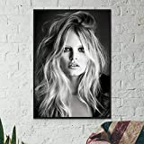 WDQFANGYI Póster De Moda Francesa De Brigitte Bardot, Modelo En Blanco Y Negro, Imagen Artística, Pintura, Decoración De Pared, Impresiones En Lienzo 50X70Cm (FLL5156)