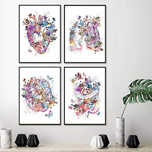 YDGG Anatomía Corazón Humano Cerebro Lienzo Cartel Impresión Neurología Arte Pintura Estudiante Regalo Doctores Oficina Decoración de pared-30x40cmx4 Piezas sin Marco