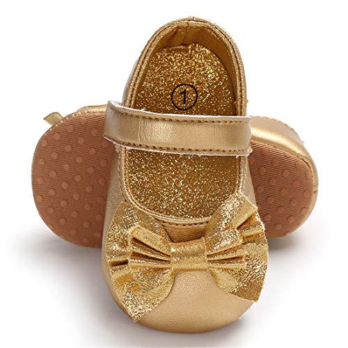 ENERCAKE Infant Baby Girls Mary Jane Flats Non-Slip Soft Soled Toddler First Walkers Crib Shoes Princess Dress Shoes(6-12 Months Infant, A-Gold)