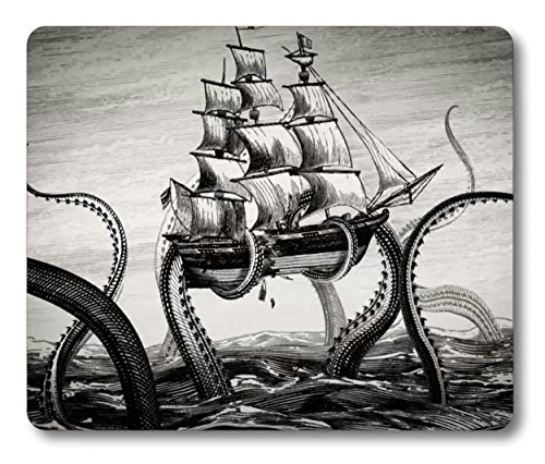 Kraken Mouse Pad Sail Boat Waves and Octopus Non-Slip Rubber Mouse pad Gaming Mouse Pad by Smooffly