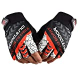 Cycling Gloves, Shock-Absorbing Pad Breathable Half Finger and Anti Slip Mountain Bike Gloves for Outdoor Sports