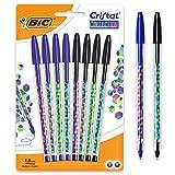 BIC Cristal Collection Stylos- Bolas de punta media (1,0 mm), color negro y azul...