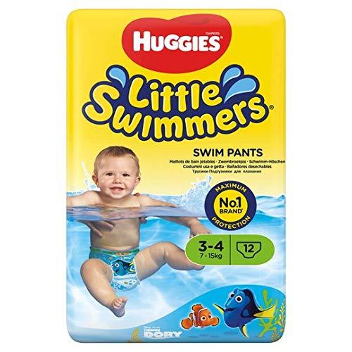 Huggies Little Swimmers - Pannolini per nuotare, misura 3-4, confezione da 12