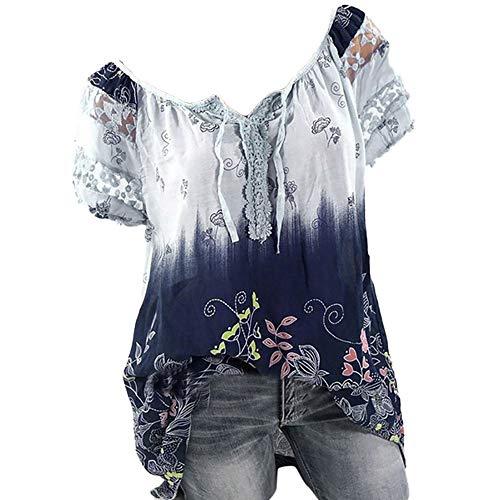 Andouy Tunika Damen Blumen T-Shirts Kurzarm Gradient Oberteile Lace Tops Blusen mit Verband(2XL.Hellblau)