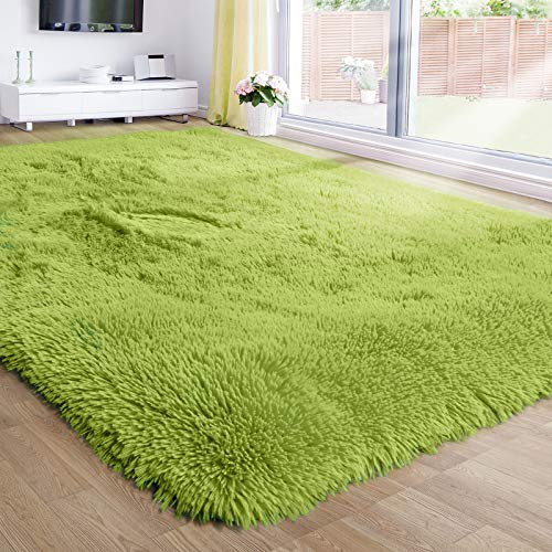 Grass Green Area Rug for Bedroom,5'X7',Fluffy Shag Rug for Living Room,Furry Carpet for Kids Room,Shaggy Throw Rug for...