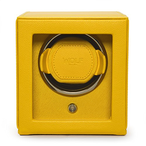 WOLF 461192 Cub Single Watch Winder with Cover, Yellow