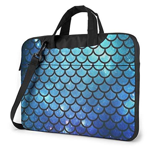 Laptop Case Bag Sequin Teal Mermaid Briefcase Sleeve Shoulder Bag Laptop Shoulder Bag with Strap 15.6 Inch