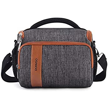 DOMISO Camera Bag Case Waterproof Anti-Shock Shoulder Bag for SLR DSLR Compatible with Nikon D90 D7000 D5300/Canon 60D 700D 5D2/Sony A580 A900/OLYMPUS/Fujifilm/Sony/Panasonic/Pentax/Samsung,Grey