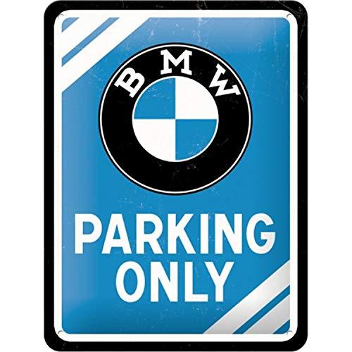 Nostalgic-Art PO26177 BMW – Parking Only Blue – Geschenk-Idee für Auto Zubehör Fans, Bunt, 15 x 20 cm