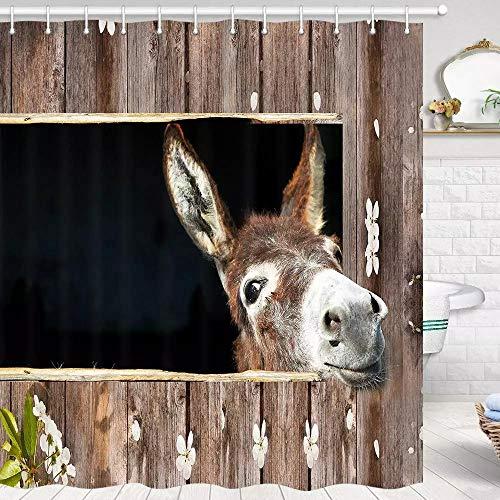 N / A Hochwertiger Esel Duschvorhang für Badezimmer Tierliebhaber Netter lustiger lustiger Esel Duschvorhang in Bad Polyester Stoff Badezimmer Fantastisch-B90cmxH180cm