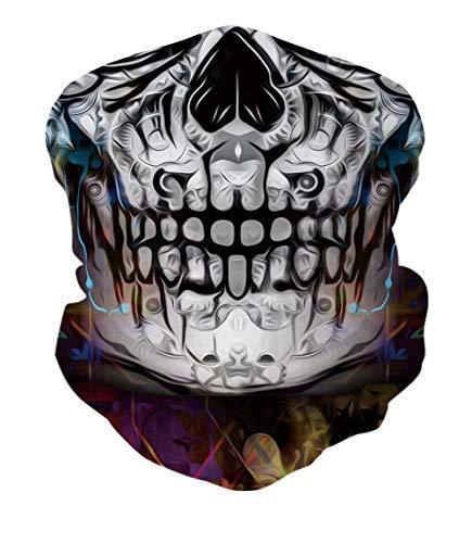 RAISEVERN Sturmhaube Schädel Ghost Face Schal Schal Multifunktionale Kopfbedeckung Halsmanschette für Männer 3D Schwarz und Grün Halloween Maske Wind Proof für Abendparty