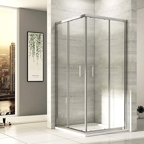 EMKE Eckeinstieg Duschkabine 80 x 80 cm Duschabtrennung Doppel Schiebetür Duschtür Duschwand Mit Nano-Beschichtung Höhe 195cm