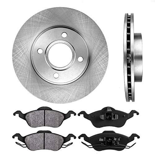 CRK11148 FRONT 258 mm Premium OE 4 Lug [2] Brake Disc Rotors + [4] Metallic...