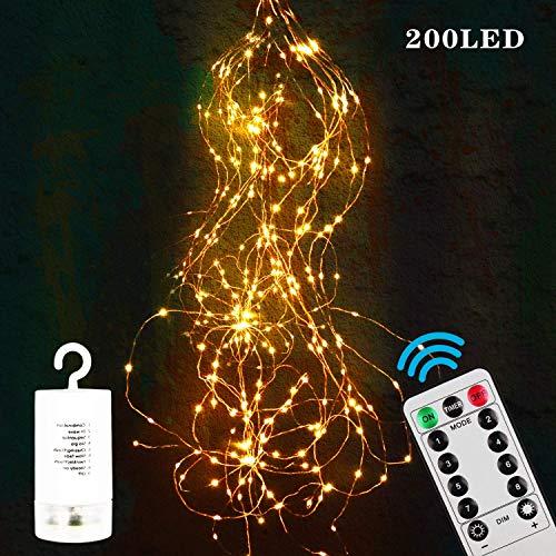 Zorara LED Lichterbündel, 2M 200 LED Lichtervorhang, 8 modi lichterbündel außen mit Fernbedienung, Weihnachtsbaum Lichterkette Partydekoration für Garten, Party, Weihnachten, Hochzeit