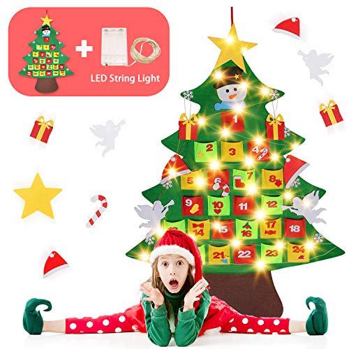 Feltro Albero Natale,Gosear 24 Giorni in Feltro Calendario dell'Avvento Albero di Natale Conto alla Rovescia Ornamenti Pendenti con Luce a Corde per Decorazioni Murali Natalizie per Bambini