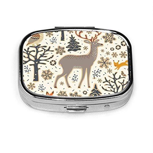 Pastillero cuadrado de plata con diseño de búho, animales y animales silvestres y ciervos