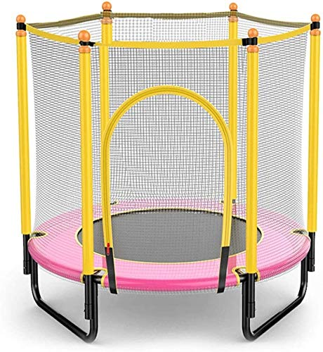 YAOJIA Indoor trampoline 4ft Kids Trampoline Indoor|Trampoline With Safety Enclosure Net, Exercise For Adult Kids Indoor/Outdoor Toy Great Gift (Color : Pink)
