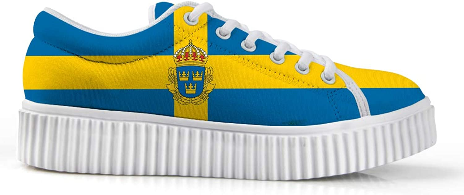 Owaheson Platform Lace up Sneaker Casual Chunky Walking shoes Low Top Women Sweden Flag National Emblem
