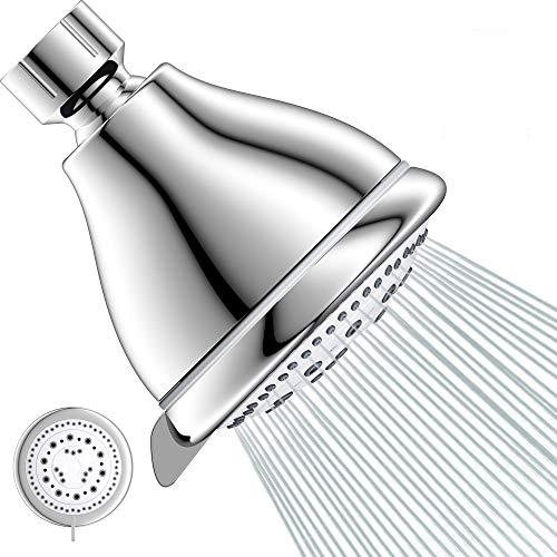 High Pressure Shower Head 3'' Anti-leak Fixed Showerhead 5 Setting Spray, Adjustable Metal Swivel Ball Joint Tool-Free Installation Multi-Functional Bathroomshower heads - Chrome