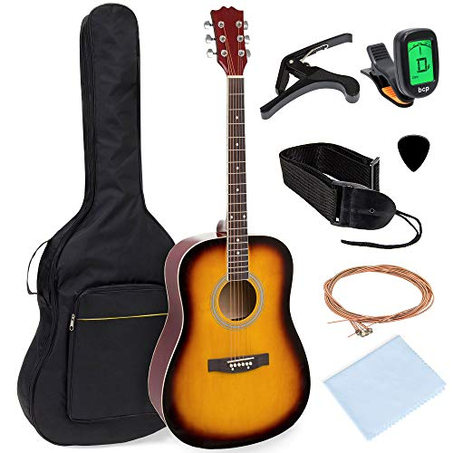 Best Choice Products 41in Full Size All-Wood Acoustic Guitar Starter Kit w/Gig Bag, E-Tuner, Pick, Strap, Rag - Sunburst