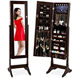 Best Choice Products 6-Tier Standing Mirror Lockable Storage Organizer Cabinet Armoire w/LED Lights - Espresso