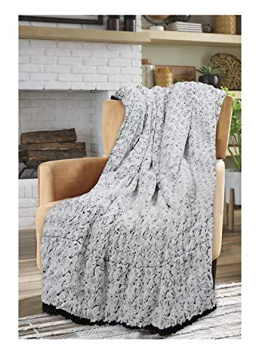 Sleep&Snuggle Luxuriöse Rosetten-Überwurfdecke – Kunstfell-Sherpa-Fleece-Rückseite Decke für Bett, Sofa und Couch, warm, dick, weich, gemütlich, Bettüberwurf (schwarz)