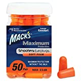 Mack's Maximum Protection Soft Foam Shooting Ear Plugs, 50 Pair – 33 dB Highest NRR –...