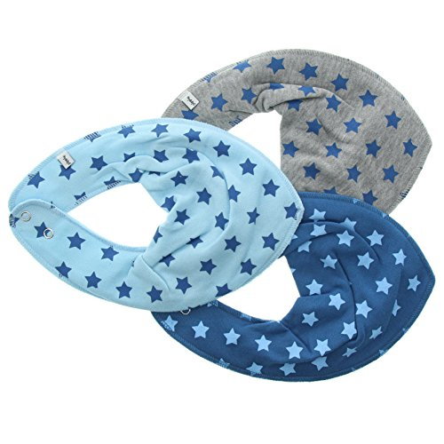 pippi Scarf Bib Ao-Printed (3-Pack) Echarpe, Bleu-Bleu (Vallarta Blue), taille unique Bébé garçon