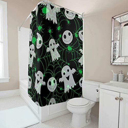 Dofeely douchegordijn Halloween grappige geesterprint modern waterdicht gordijn 200x200cm bad gordijn met levendige kleuren