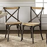 Walker Edison Industrial Farmhouse Wood and Metal X-Back Kitchen Dining Chairs, Set of 2, Black