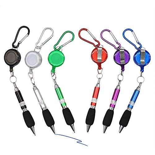 3-en-1 Handy Retractable Badge Reel Pen Clip de cinturón Llavero Carabinerm con lápiz retráctil (juego de 6)