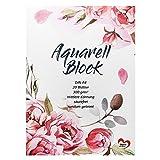Ideen mit Herz Aquarell-Block | Aquarellpapier | Zeichenblock | Malblock | DIN A4 | 20 Blatt | dickes Papier | 300 g/m²