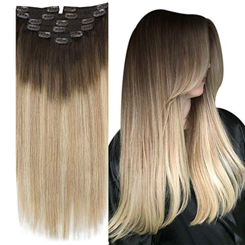 YoungSee Extensions Clips Cheveux Naturels Remy Hair Extensions a Clip Double Weft Balayage #4/27/60 Marron Foncé a Blond Caramel avec Blond Platine 7