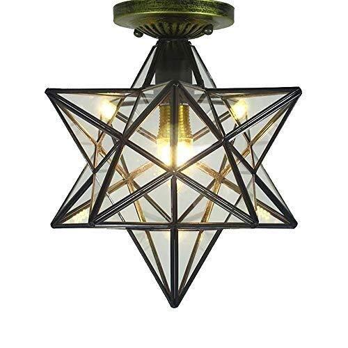 Moderne Pendelleuchte Shade 12-Zoll-Herrnhuter Stern Flush Mount Deckenleuchte-Befestigung for Kücheninsel Wohnzimmer Schlafzimmer Flur Klarglas Light Shade LED-Birne
